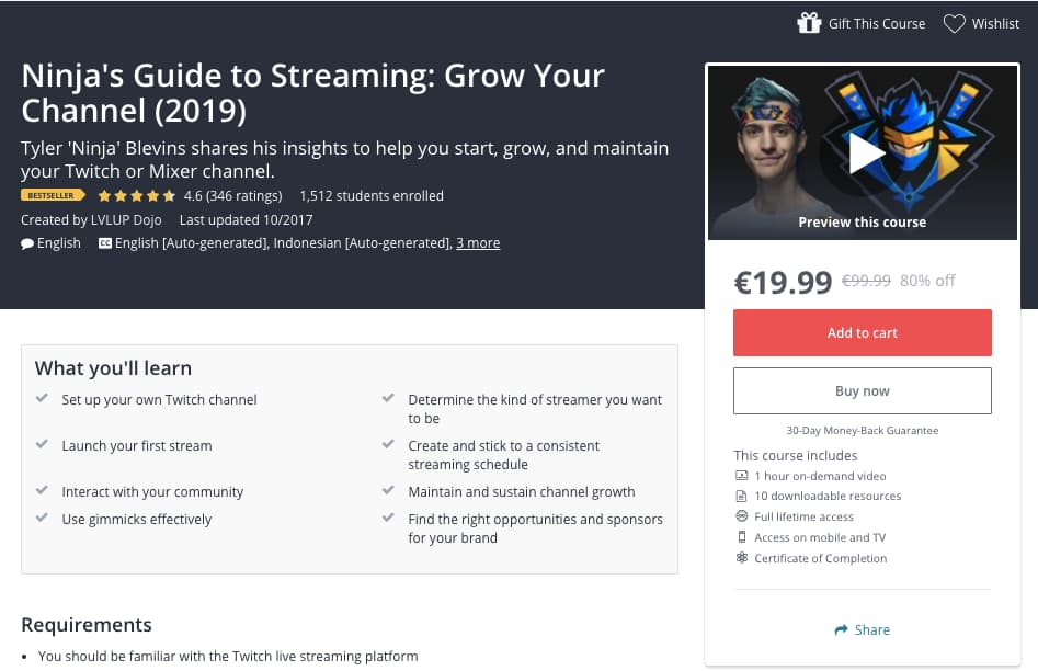 Ninja's twitch course on how to get more viewers on twitch