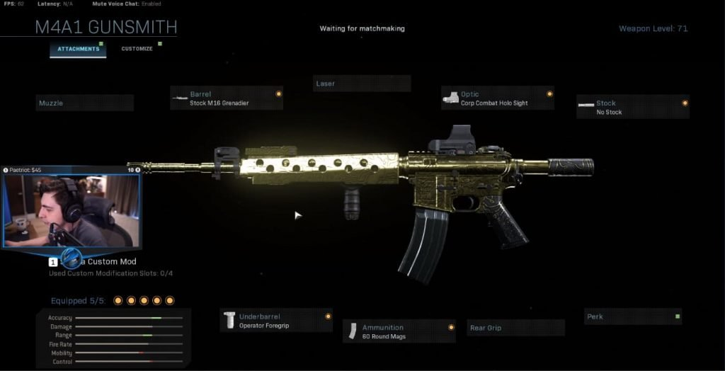 Shroud Call of Duty Warzone Loadout M4a1