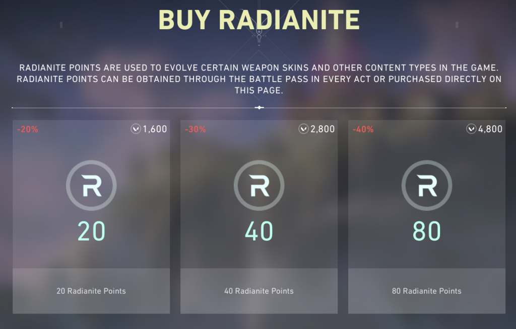 Radianite points shop.