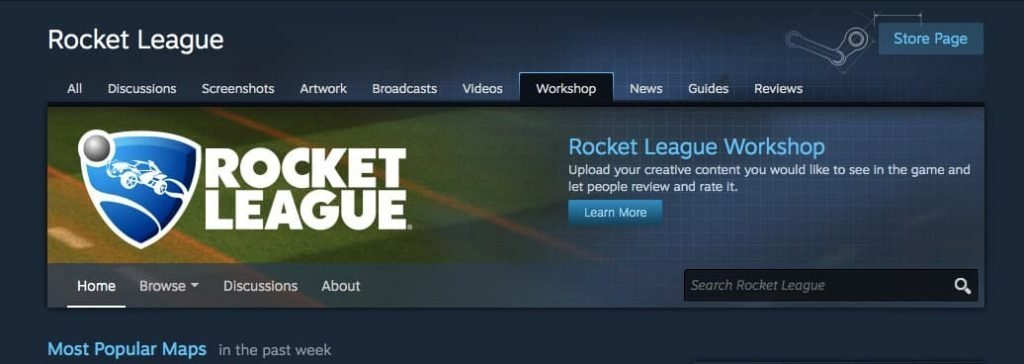 Search for rocket league map in the workshop