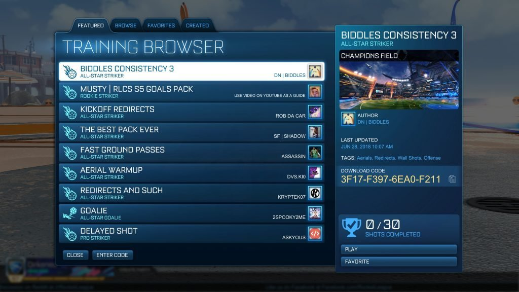 community-training-packs-rocket-league